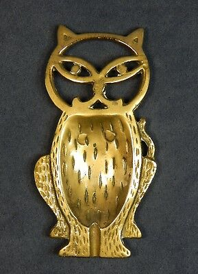 """CAT SPOON REST Vintage or Antique Solid Brass Kitchen / Home Decor 5"""" x 3"""" NICE!"""
