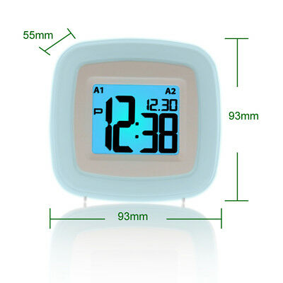 Snooze Alarm Clock Wake Up Night Light Date Time LCD Display Battery Operated