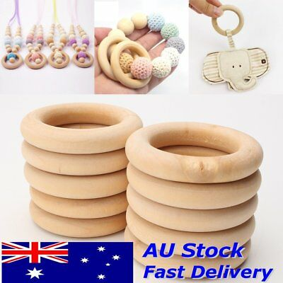 40X 55mm Crafts Baby Teething Natural Wooden Rings Necklace Bracelet Jewellery