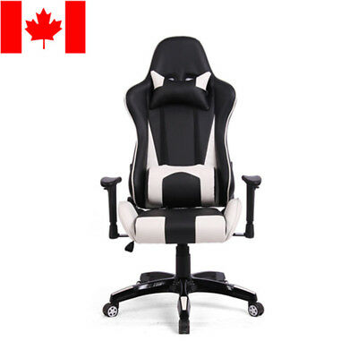 Moustache® Top Gamer PUBG Ergonomic Racing Gaming Chair, black and white