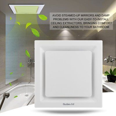 White 25cm Square Ceiling Ducted Exhaust Fan/Air flow/Bathroom/Kitchen/Laundry A