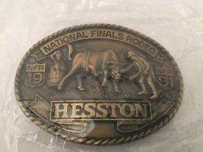 Vintage Hesston Brass Belt Buckle National Finals Rodeo Nfr 1981 New In Package