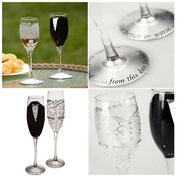 Handpainted Bride And Groom Champagne Wine Glasses Flutes Wedding