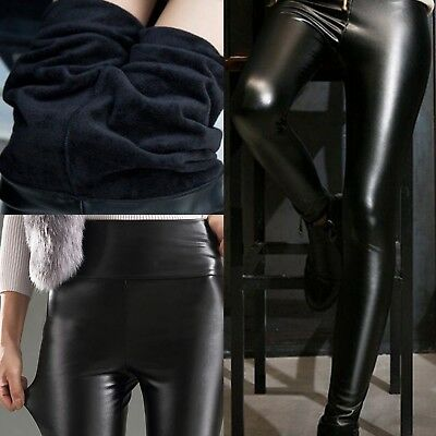 Women's Winter Warm Leather Pants Stretchy Push Up Pencil Skinny Tight Leggings