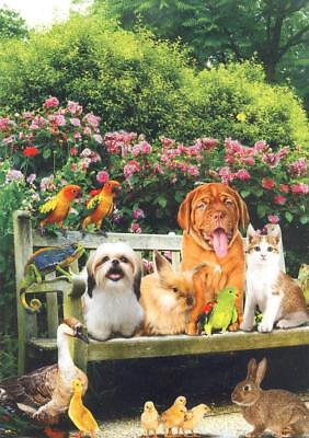 Scarce Leanin' Tree friendship greeting card, puppies, cats, parrots, very cute