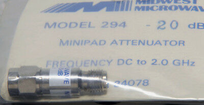 20 dB Fixed Attenuator Midwest Microwave ATT 294-20 SMA, 2GHz, 2W . . . . . NOS