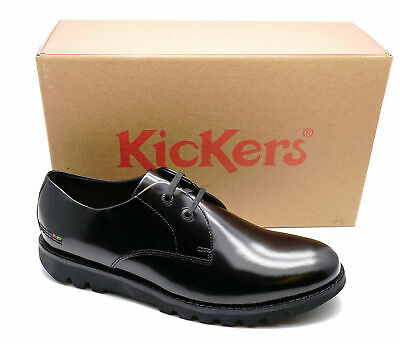 Mens Kickers Kymbo Smart Leather Work Wedding Black Lace-Up Shoes Sizes 40-46
