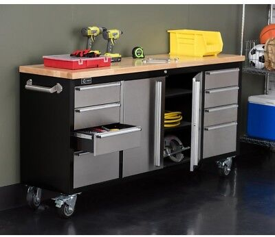 Large Black Rolling Workbench Stainless Steel Face Workshop Garage Lined Drawers