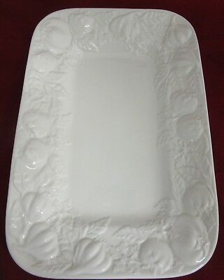 Large White Embossed  Serving Platter by I Patrizi. Made in Italy. (Lot A)