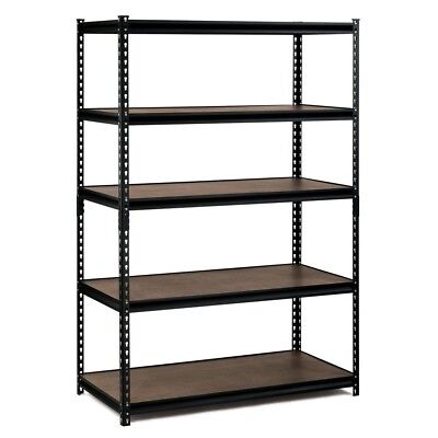Edsal 72 in. H x 48 in. W x 24 in. D 5Shelf Steel Commercial Shelving Unit Black