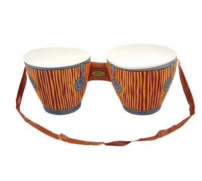 Inflatable Bongo Drums & Strap - Hawaiian African Tropical Fancy Dress Beach
