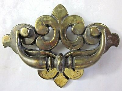1 vintage brass plated French Lily drawer drop bail pull 149 handle holes=1-3/4""