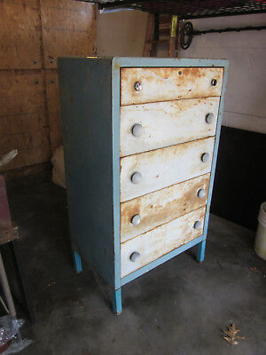 Cool Vintage Blue & White Metal Medical Cabinet! Dresser/Chest of Drawers!