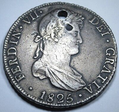 1825 JL Rare Bolivia 8 Reales Mexico Silver Spain Piece Of Eight Real Coin