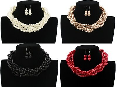 Ladies & Womens Chunky Cluster Strand Bead Layered Necklace And Earring Sets Uk