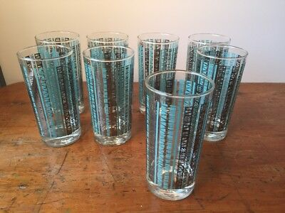 "Set of 8 Vintage Mid Century MCM Turquoise Stripe Tumbler Glasses, 5.5"" Tall"