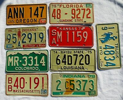 Old Vintage 1970s Metal US States Different License Plate Lot of 9