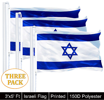 3 pack USA SELLER 3' x 5' ft Polyester Israeli Flag Israel 150D Outdoor Indoor
