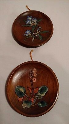 Vintage Small Japanese Wooden Plates, Hand Painted Decorative