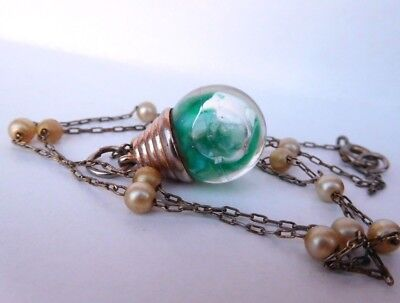VTG Gold Fill Green FLOATING OPAL Glass Orb Victorian Chain Necklace lot Bubble