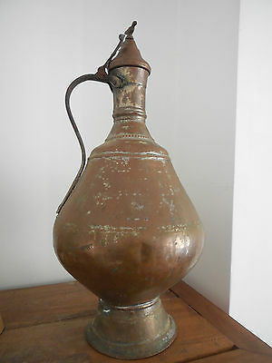 Antique ISLAMIC ARAB/OTTOMAN Massive Copper EWER, Lidded Lebanese? 18/19 C.