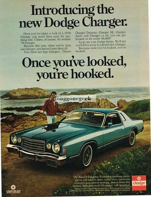 1975 Dodge Charger Blue 2-door Coupe Vtg Print Ad