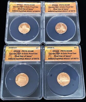 2009-S Lincoln Cent Proofs 1st day issue ANACS PR70DCAM 4 coins 217/9972