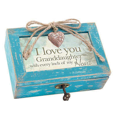 Love You Granddaughter My Heart Teal Wood Locket Jewelry Music Box