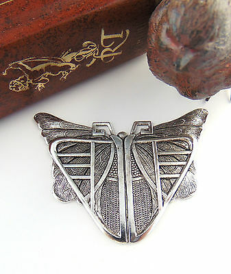 ANTIQUE SILVER Egyptian Art Deco BUTTERFLY SCARAB Stamping Oxidized (C-407)