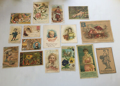 16 Victorian 19th Century Advertising Trade Cards, 1880's-1890's