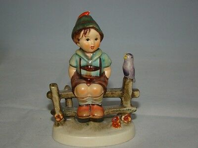Vintage MJ Hummel Goebel Figurine W.Germany Wayside Harmony Boy Sitting on Fence