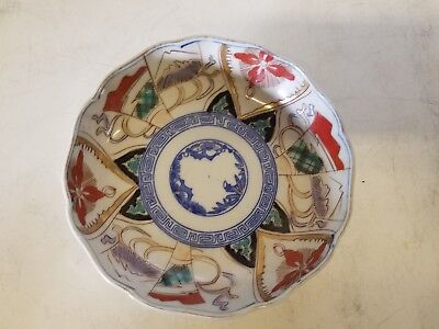 Vintage Possibly Antique Japanese Porcelain Imari Plate with Scalloped Rim