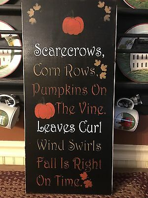 Fall is Right on Time Primitive Wood Sign  FREE SHIPPING!