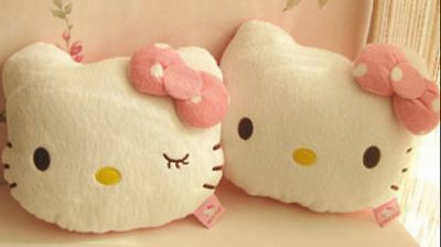 One Pair Hello Kitty Car Headrest Pillow Head Cushion Soft Plush Pink 2pcs