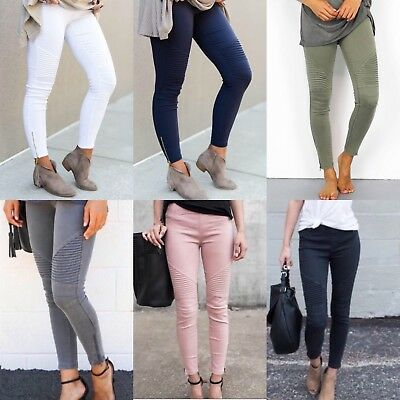 Moto Jeggings - Stretchy Biker Knee Pants with Ankle Zipper