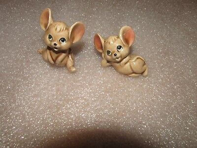 Vintage pair of Miniature mice Bone china made in Japan