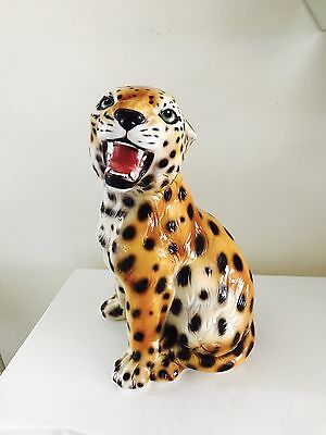 HOLLYWOOD REGENCY VTG 1960's LEOPARD STATUE  ITALIAN ART POTTERY