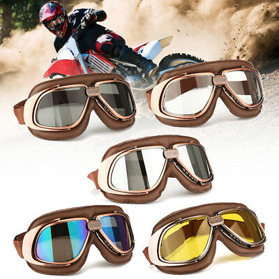 Retro Roller-Goggle Flieger-Brille Motorradbrille Scooter Helm Brille Anti-UV