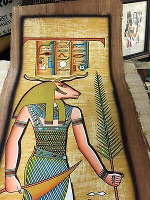 Vintage Hand Painted Papyrus Egyptian God Khnum Made In Egypt
