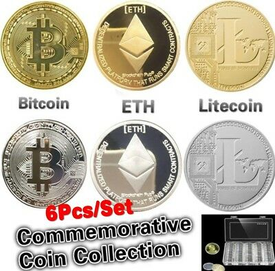 6Pcs/Set Silver&Gold Plated Bitcoin/Litecoin/Ethereum Collectible Coins Gift