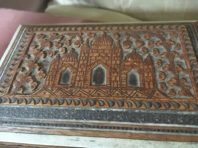 Old or Antique Wooden Box With Relief Temples/Mosques Decoration Middle Eastern