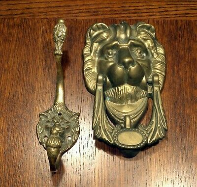 Vintage Lion's Head Lot - Brass Door Knocker & Brass two hook wall hanger - NICE