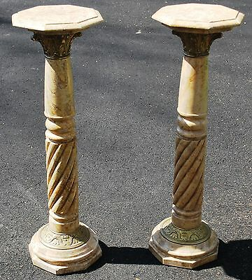"Pair! Veined Beige Marble Columns Pedestals w/ Bronze Ornate Bands 35.5""H"