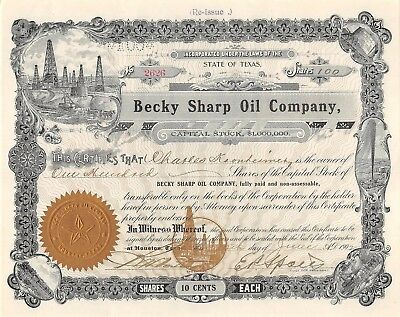BECKY sharp oil company 100 Aktien 1902 State of Texas (2626)
