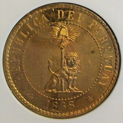 1868 Paraguay Republic Brass 2 Centesimos Pattern Ngc Gem Proof-65 L@@k