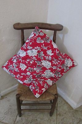BEAUTIFUL ANTIQUE FRENCH CUSHION RED TOILE WITH GREY ROSES VIBRANT PRINT c1930