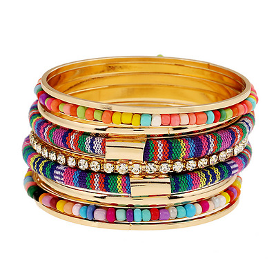 Fashion Boho Women Multi-color Seed Beads Bangle Crystal Cotton Bracelet Jewelry