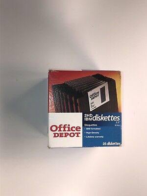 "Box 25 Office Depot DISKETTES 3.5"" 2HD IBM Formatted Floppy 1.44 MB - Free Ship!"