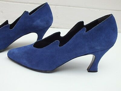 Vintage Blue Suede 80S Shoes Pumps Heels -  Made In Italy - 7 8
