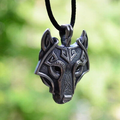 Viking Fenrir Wolf Head Pendant With Cotton Cord Necklace Gift Jewelry